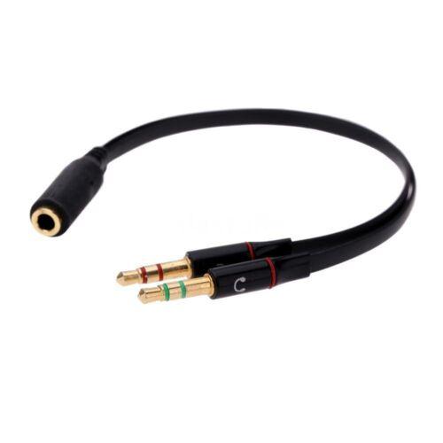 3.5mm Y Splitter 2 Jack Male to 1 Female Headphone Mic Audio