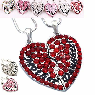 2PC Set Mother & Daughter Best Friend Mother's Day Heart Pendant Necklace Charm
