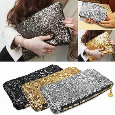 Women Sparkly Clutch Evening Bag Wedding Party Fashion Sequin Handbag Glitter