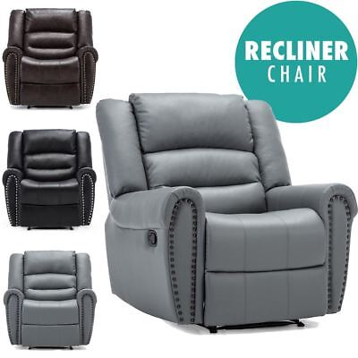 DENVER BONDED LEATHER RECLINER ARMCHAIR STUD SOFA HOME LOUNGE RECLINING CHAIR