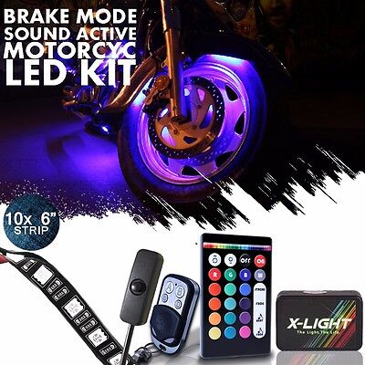 - 10x Motorcycle LED Light Kit | RGB Accent Glow Neon Strips w/Switch for Cruisers