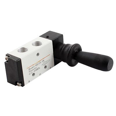 Pneumatic Air Inlet 2 Position 5 Way Manual Hand Pull Valve Grayblack Dt