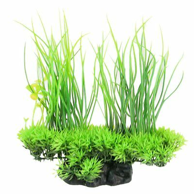 Aquarium Emulational Green Plastic Long Leaf Plant Decor 20cm N3
