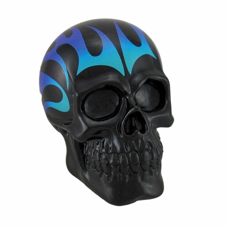 Black Skull Coin Bank Piggy w/ Blue & Purple Flames Money Box Statue Figure New
