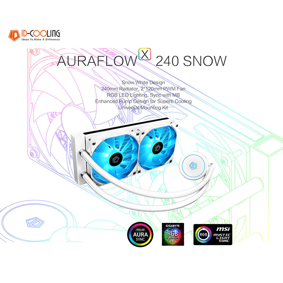 Liquid CPU Cooler White 240mm RGB AURA All-In-One Water Cool