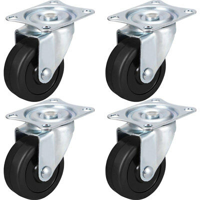 4 Pk 2 Swivel Caster Wheels Hard Rubber Base With Top Plate Bearing