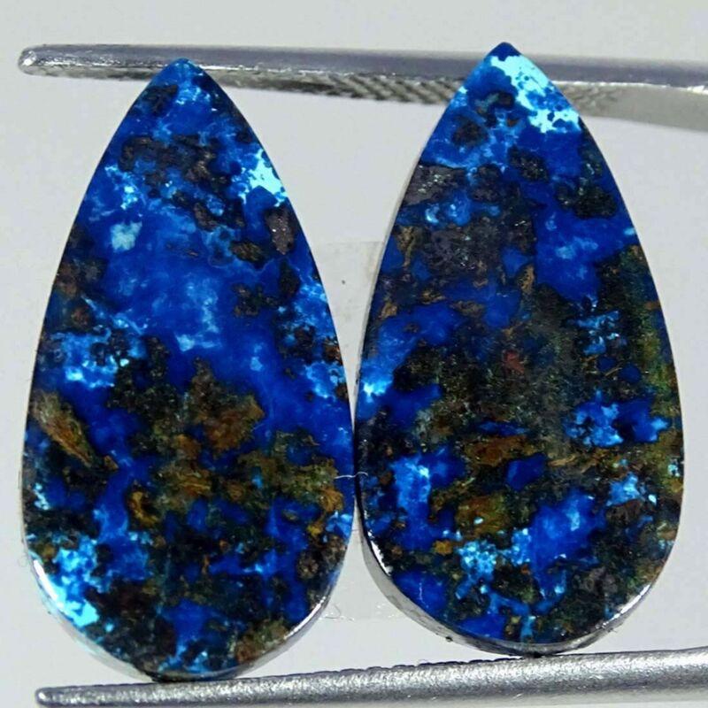 14.90Cts Natural Blue Azurite Pear Pair Cabochon Loose Gemstone