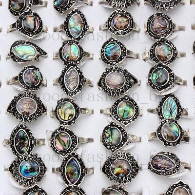 Natural Abalone Shell Rings 20pcs/lot Wholesale Women's Rings Mixed - Women Wholesale