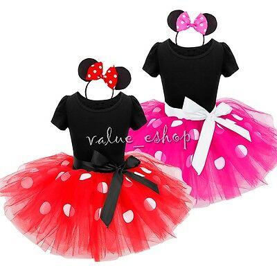 Girls Kid Cartoon Mouse Fancy Dress Baby Polka Dots Costume Party Outfit Clothes