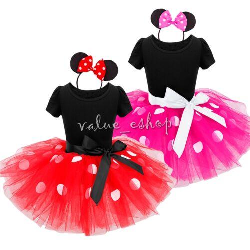 Womens Minnie Red Spotty Fancy Dress Bow Ears Mouse Polka Dot Cute Fairytale