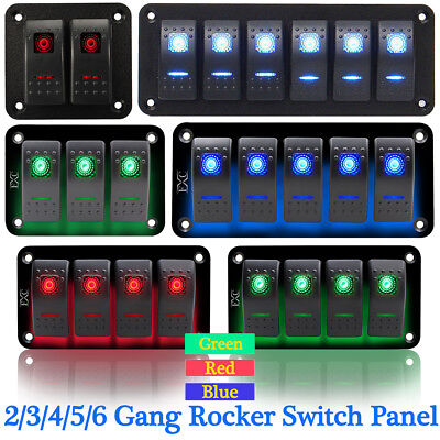 23456 Gang Car Rv Marine Boat Led Rocker Switch Breaker Control Panel 12v24v
