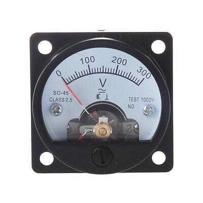 Ac 0-300v Round Analog Dial Panel Meter Voltmeter Gauge Black Ad