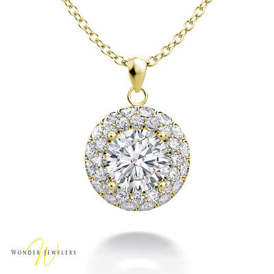 1.03ctw GIA Round Diamond Halo Necklace Pendant 14K Gold F/VS2 (2306427381)