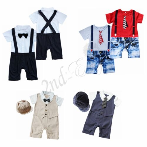 090fa16a8 Baby Boys Infant Toddlers Gentleman suit bodysuit Romper Clothes ...