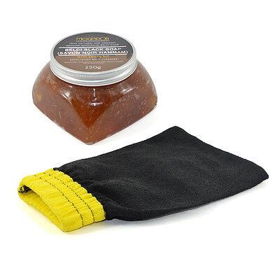 Moroccan Beldi Black Soap Savon Noir Argan Oil 250g with Hammam Kessa Glove