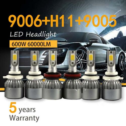 Combo 9005 9006 H11 Headlight Fog Light Bulb Total 60000LM High Low Beam COB Kit
