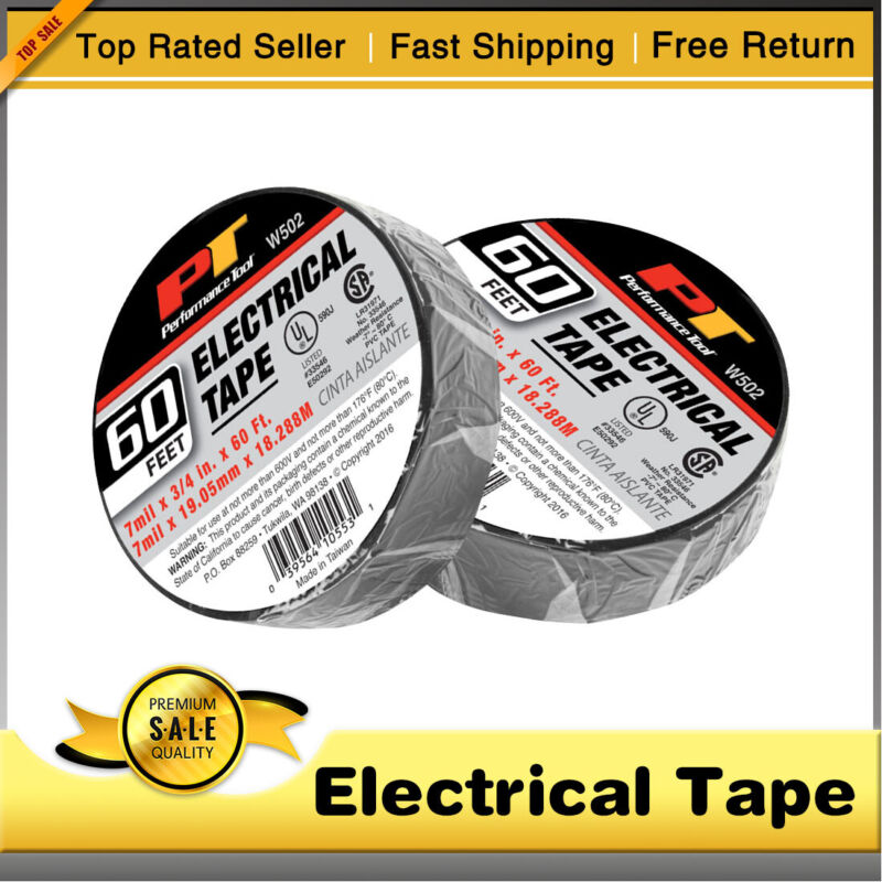 2 Rolls Electrical Tape Black 3/4in. x 60 Ft. Insulated Anti-electricity