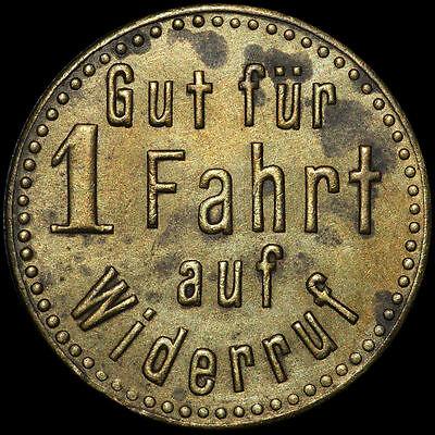 """WERTMARKE: """"Gut für 1 Fahrt"""", Messing. STRASSENBAHN SCHLESWIG / SCHL.-HOLSTEIN."""