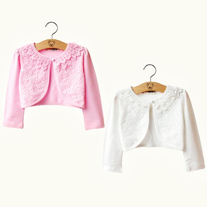 1f94519278f6 Girls Lace Bolero Shrug Long Sleeve Short Cardigan Party Flower ...