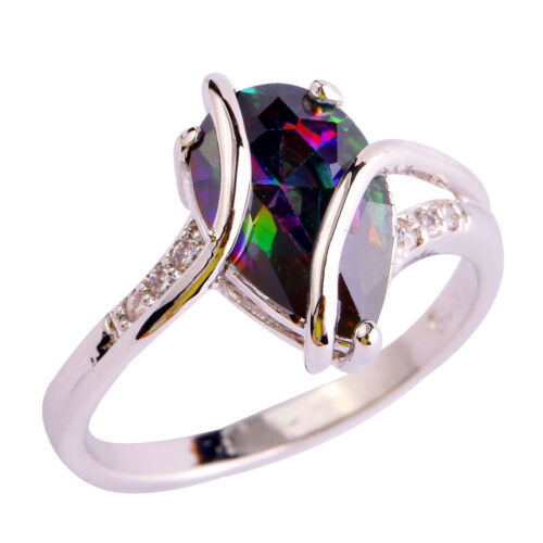 Water-Drop-Rainbow-White-Topaz-Gemstones-Silver-Ring-Size-6-7-8-9-10-Free-Ship