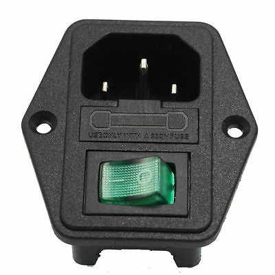 1x Green LED Rocker Switch Fuse Holder IEC320 C14 Inlet Power Socket AC250V 10A