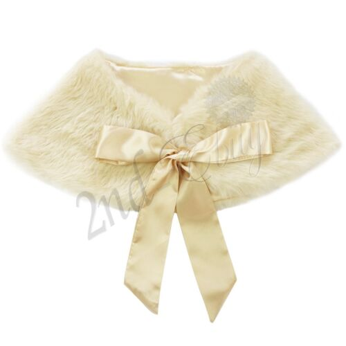 GIRLS FAUX FUR SHOULDER CAPE BRIDESMAID TIPPET BOLERO WRAP STOLE SHRUG CLOAK