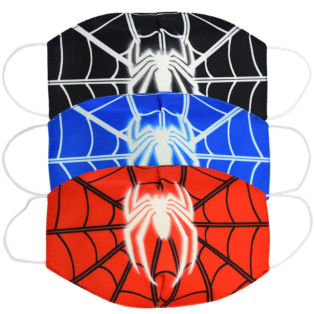 3 pcs Comic Hero Spider Man Web Style Cotton Masks Half Face Cartoon Mouth Cover Accessories