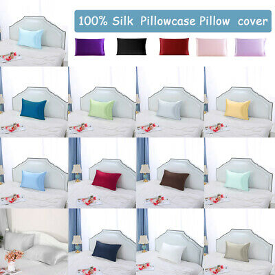 100% Silk Fabric Pillow Case Cover Pillowcase King/Queen/Standrad/Travel Size 1x Bed Silk Bed Pillow