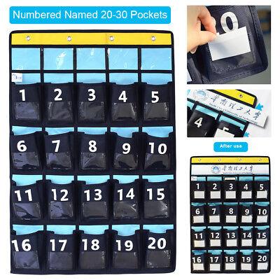 DIY Named Numbered Meeting Room Classroom Pocket Chart for Phone Holders Hooks