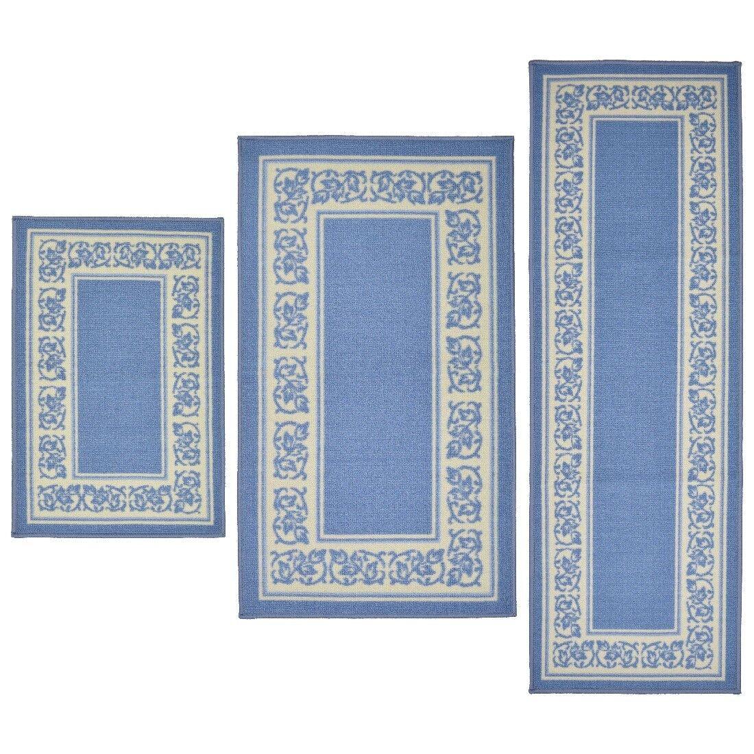 Throw Rugs 3 Piece Set Blue Kitchen Bath Bedroom Area Floor