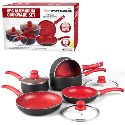 8PC RED COOKWARE NON STICK KITCHEN PAN SET SAUCEPAN FRYING PAN POT INDUCTION NEW