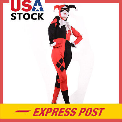 Harley Quinn Costume Cosplay Fancy Dress Halloween Bodysuit Zentai Free Shipping](Harley Quinn Bodysuit Costume)