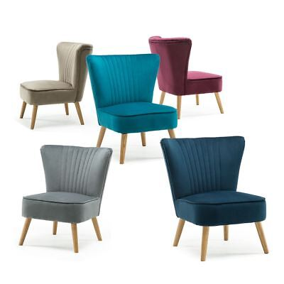 Lyssa Velvet Retro Occasional Bedroom Living Room Accent Chair Fabric Tub