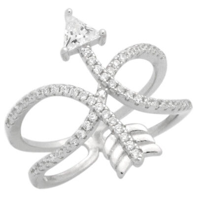 925 Sterling Silver Micropave CZ Designer Infinity Entwined Arrow Ring