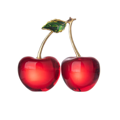 LONGWIN Crystal  Cherry Paperweight Glass Fruit Figurine Home Decor Ornament