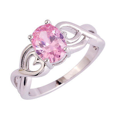 Size 6 7 8 9 10 Solitare Pink Topaz Gemstones Silver Ring Oval Cut Love Style ()