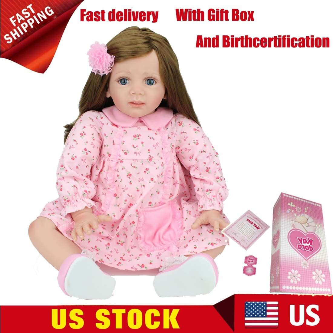 Boxed 22 inch Toddler Reborn Baby Dolls Handmade Vinyl Silicone Doll Xmas Gifts