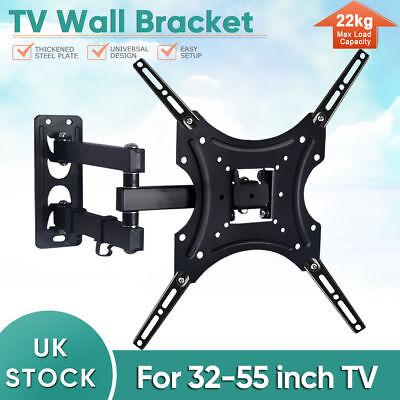 TV Wall Mount Bracket Shelf Tilt & Swivel Flat Plasma LCD LED 32-55 inches PVC