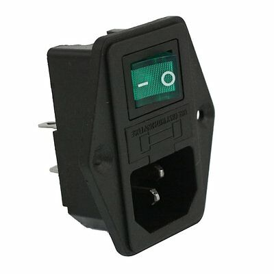 details about ac 10a 250v iec320 c14 inlet module with lamp rocker switch  and fuse holder n1y5