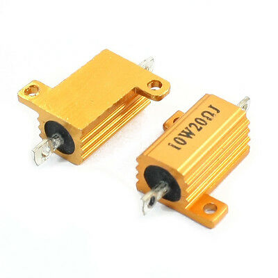 2pcs 20 Ohm 10w Aluminum Housing Wire-wound Gold Tone Resistor