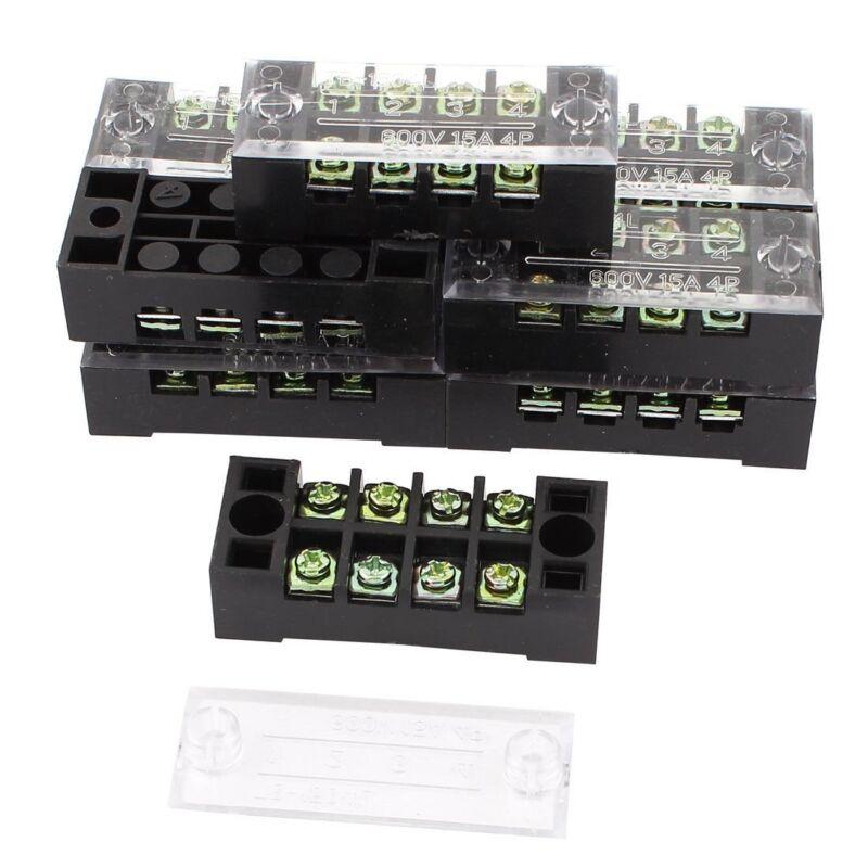 10 Pcs Dual Row 4 Position Screw Terminal Block Strip 600V 15A w Cover