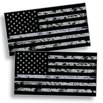 Distressed Black OPS American Flag Sticker Decal Subdued USA Car Truck Grunge HD - Gray Car Flag