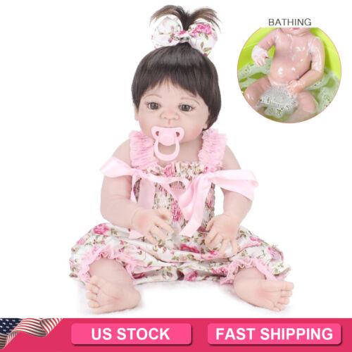 22'' FULL VINYL SILICONE REBORN BABY DOLLS HANDMADE GIRL GIFT NEWBORN DOLL TOYS