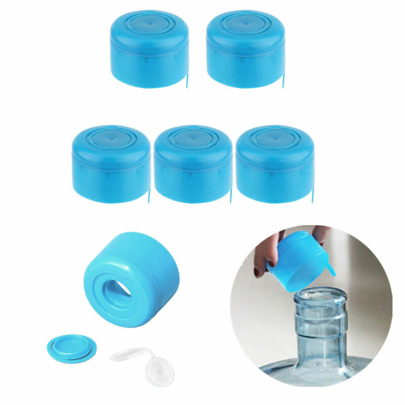 5Pcs Water Bottle Cap Non-Spill Lids 55mm 3-5 Gallon Water J