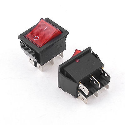 1pcs 15a 250vac 2 Position 6 Pin Red Light Onoff Dpdt Boat Rocker Switch