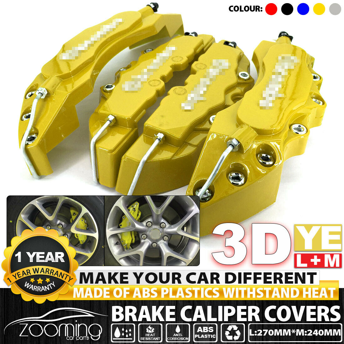 """Red 3D Style Brake Caliper Covers Universal Car Disc Front Rear Kits 10.5/"""" LW02"""