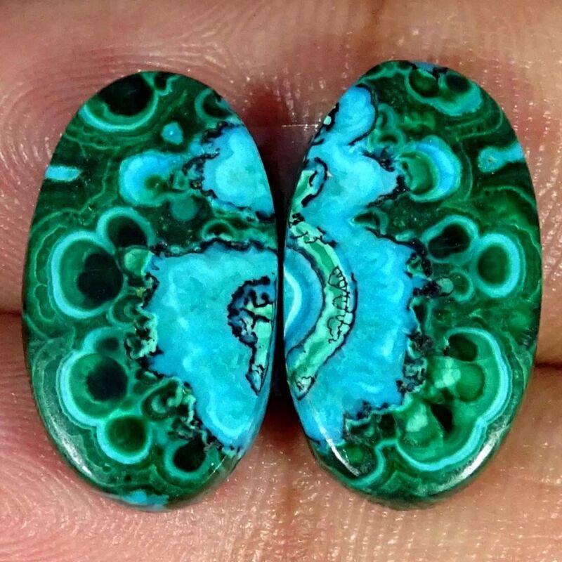 18.10Cts Natural Malachite Chrysocolla Pair Oval Cabochon Loose Gemstone