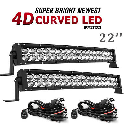 2x 24inch 280W Led Light Bar Curved Spot Flood Combo Work UTE Truck SUV ATV 22''