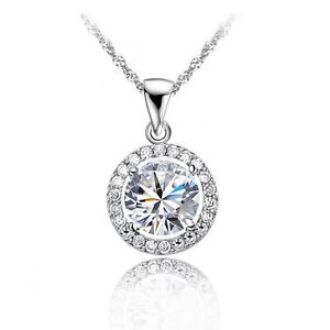 925 Silver Clear Circle Cubic Zirconia Chain Necklace Pendant