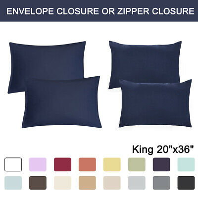 2 Pcs King Size Pillowcases Soft 1800 Microfiber Pillow Case